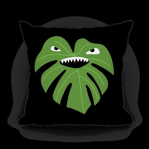Monstera Leaf Monster Pillow