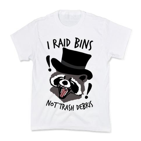 I Raid Bins Not Trash Debris Emo Raccoon Kids T-Shirt