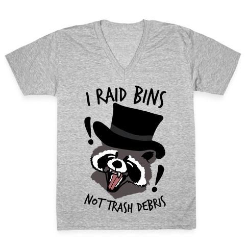 I Raid Bins Not Trash Debris Emo Raccoon V-Neck Tee Shirt