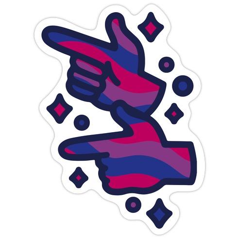 Bisexual Pride Finger Guns Die Cut Sticker