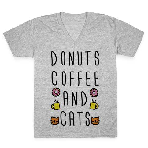 Donuts Coffee And Cats V-Neck Tee Shirt