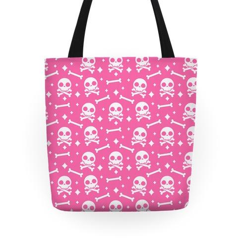 Cute Skull N' Bones Pattern (Pink) Tote