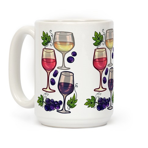 Wine and Grapes Pattern Coffee Mug