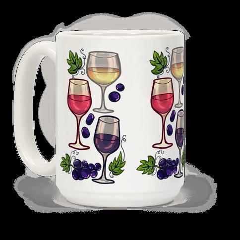 Wine and Grapes Pattern Coffee Mug