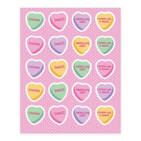 Body Positive Candy Hearts Sticker and Decal Sheet