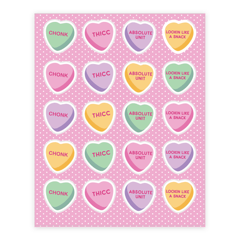 Body Positive Candy Hearts Sticker/Decal Sheet
