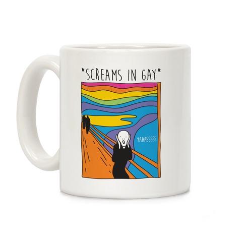 Screams In Gay Edvard Munch Parody Coffee Mug