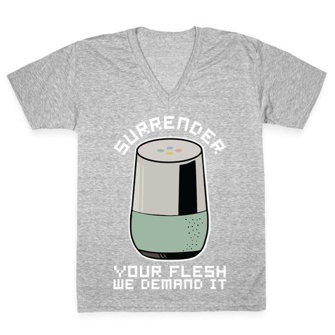 Surrender Your Flesh We Demand It Google Home V-Neck Tee Shirt