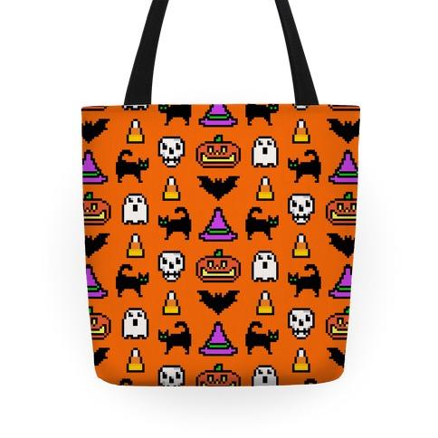 Pixel Halloween Pattern Tote