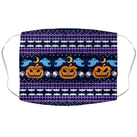 Ugly Halloween Sweater Accordion Face Mask