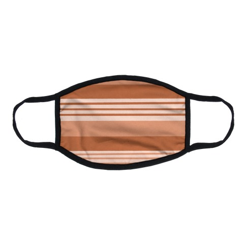 Terracotta Horizontal Stripes Flat Face Mask