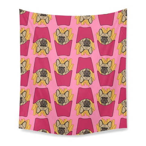 French Fry French Bulldog Pattern Tapestry