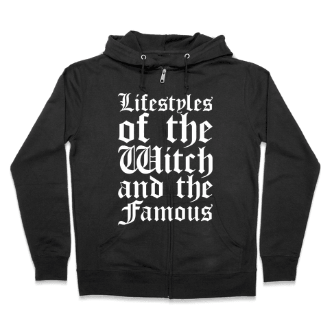Lifestyles of The Witch and The Famous Parody White Print Zip Hoodie