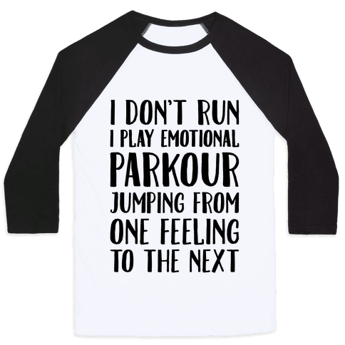 Emotional Parkour Funny Running Parody Baseball Tee