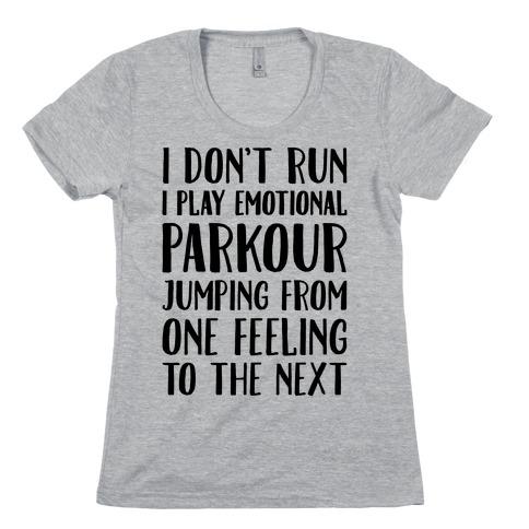 Emotional Parkour Funny Running Parody Womens T-Shirt