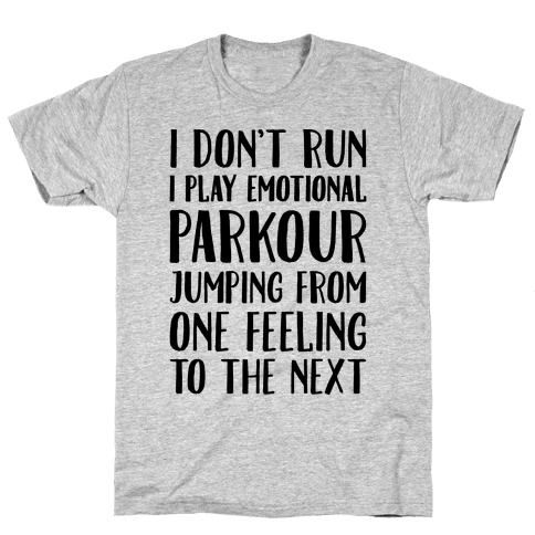 Emotional Parkour Funny Running Parody Mens T-Shirt