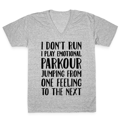 Emotional Parkour Funny Running Parody V-Neck Tee Shirt