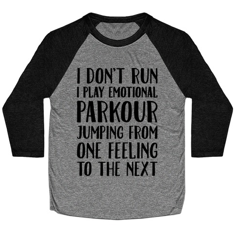Emotional Parkour Funny Running Parody Baseball Tee