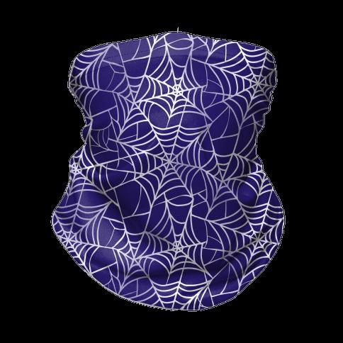 Spider Web Pattern Blue Neck Gaiter