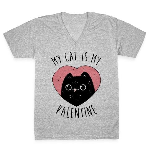 My Cat is My Valentine V-Neck Tee Shirt