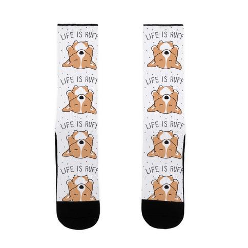 Life Is Ruff Corgi Sock
