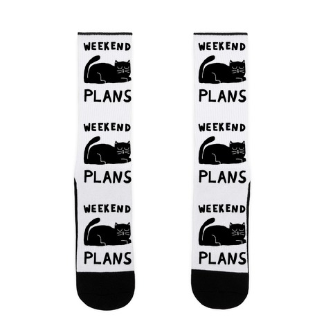 Weekend Plans Cat Sock