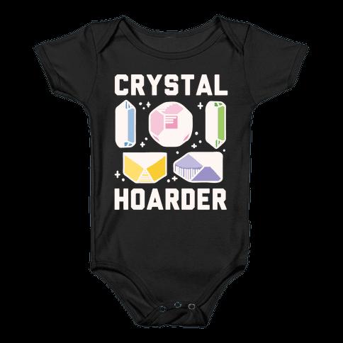 Crystal Hoarder White Print Baby Onesy