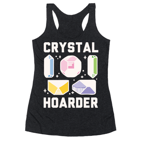 Crystal Hoarder White Print Racerback Tank Top