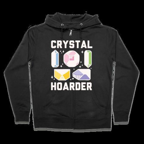 Crystal Hoarder White Print Zip Hoodie