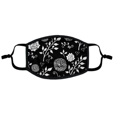 Black Floral Pattern Flat Face Mask