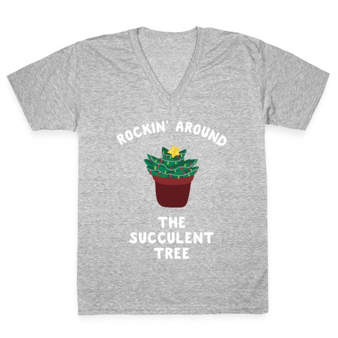 Rockin' Around the Succulent Tree V-Neck Tee Shirt