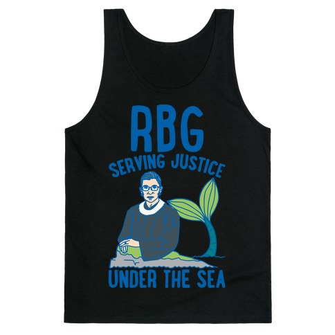 RBG Serving Justice Under The Sea White Print Tank Top