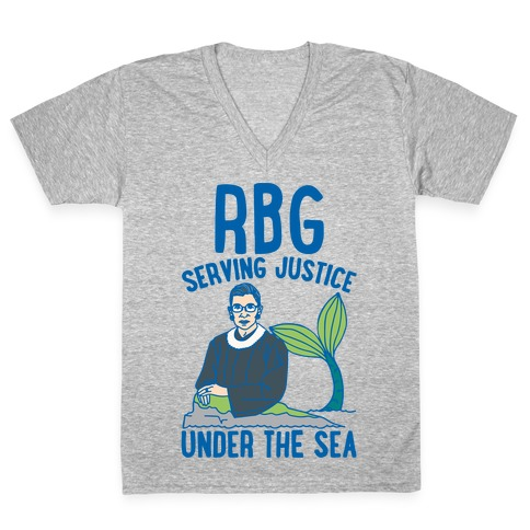 RBG Serving Justice Under The Sea White Print V-Neck Tee Shirt