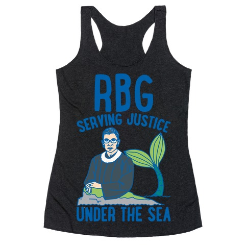 RBG Serving Justice Under The Sea White Print Racerback Tank Top