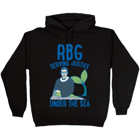 RBG Serving Justice Under The Sea White Print Hooded Sweatshirt