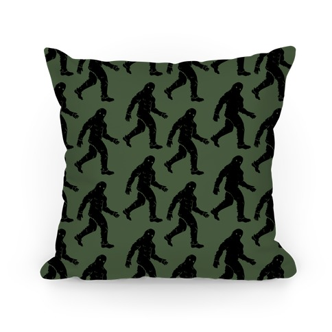Big Foot Pattern Green Pillow
