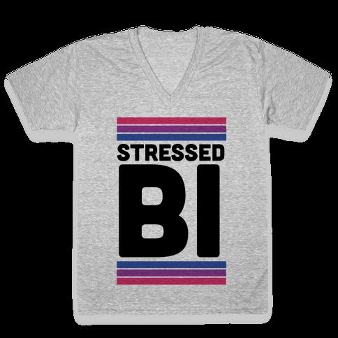 Stressed Bi V-Neck Tee Shirt