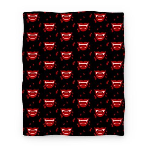 Red Vampire Lips Pattern Blanket