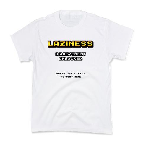 Laziness Achievement Unlocked Kids T-Shirt