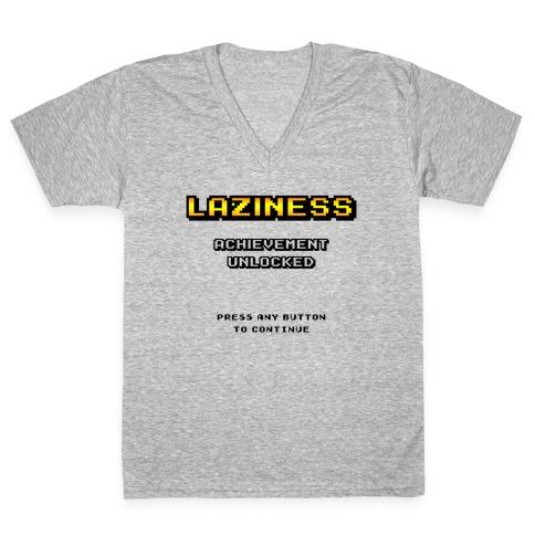 Laziness Achievement Unlocked V-Neck Tee Shirt