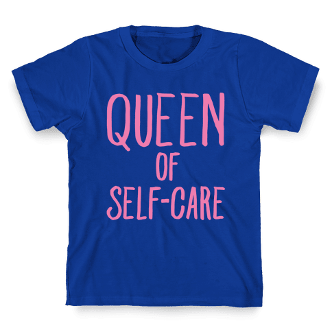 Queen of Self-Care White Print Kids T-Shirt