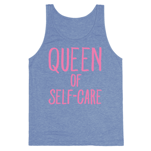 Queen of Self-Care White Print Tank Top