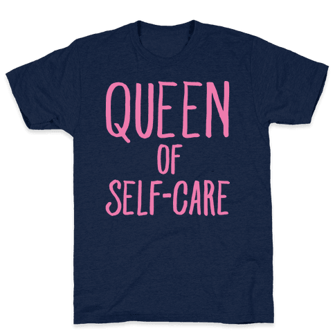 Queen of Self-Care White Print Mens T-Shirt