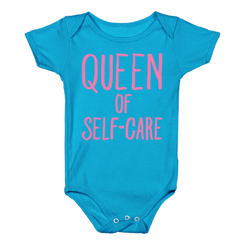 Queen of Self-Care White Print Baby Onesy