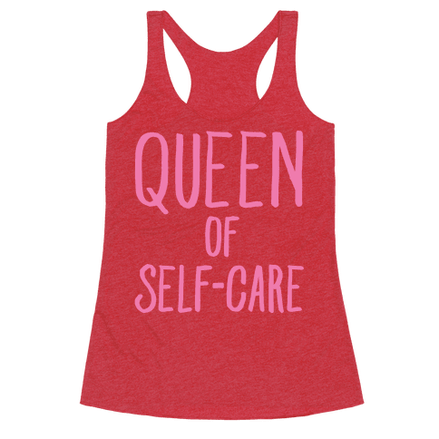 Queen of Self-Care White Print Racerback Tank Top