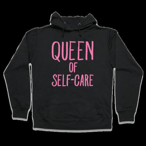 Queen of Self-Care White Print Hooded Sweatshirt