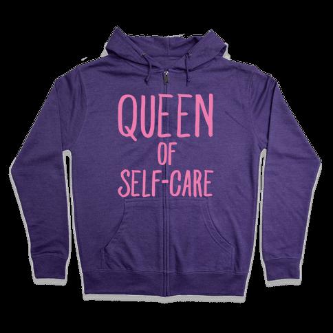 Queen of Self-Care White Print Zip Hoodie