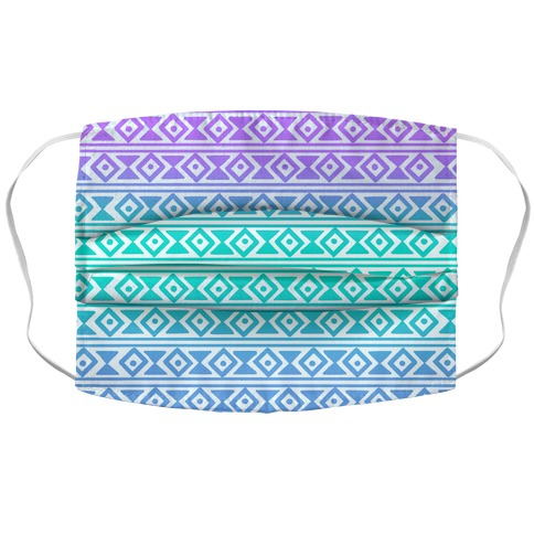 Aqua Tribal Pattern Face Mask Cover