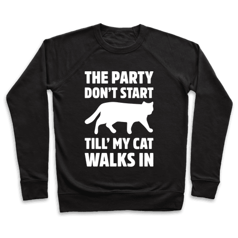 The Party Don't Start Till' I Walk In White Print Pullover