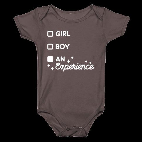 Girl, Boy, An Experience Checklist Baby One-Piece